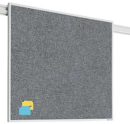 Sínrendszeren mozgatható kitűzőtábla szürke whiteboard