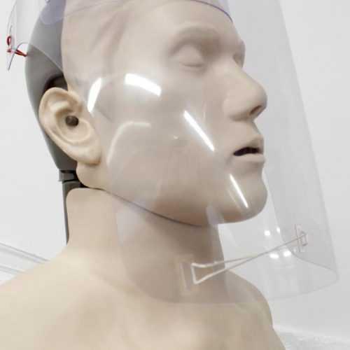 PVC arcvédő pajzs oldalról